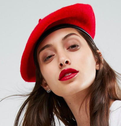 ASOS Wool Beret In Red With Leather Look Bound Edge