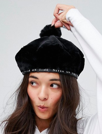 Lazy Oaf Faux Fur Beret in Black
