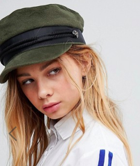 ASOS Khaki High Crown Baker Boy Hat