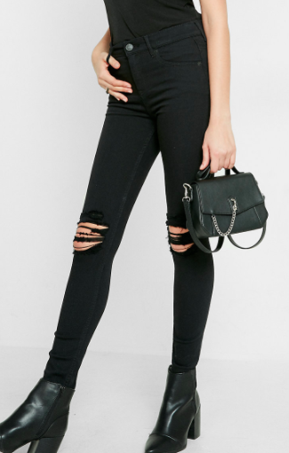 Express Black High Waisted Distressed Knee Stretch Jean Leggings
