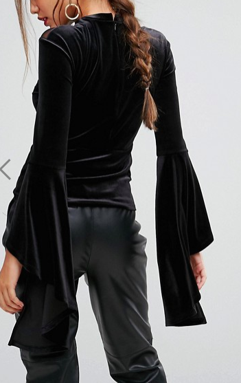 Ivyrevel Flared Sleeve Top With High Neck Mesh Detail