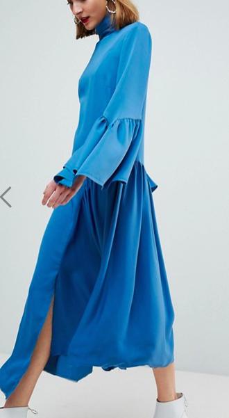 ASOS WHITE Raw Edge Frill Sleeved Dress