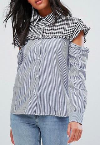 Walter Baker Marvin Cut Out Sleeve Gingham Stripe Shirt