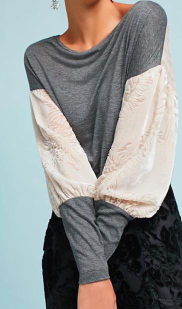 TINY Velvet-Sleeved Top