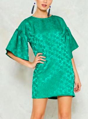 Nasty Gal Please Sleeve Jacquard Dress