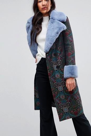 ASOS Jacquard Coat with Fur Trim
