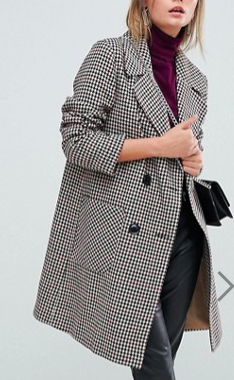 Miss Selfridge Double Breasted Check Coat