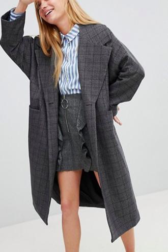 Monki Check Print Tailored Coat