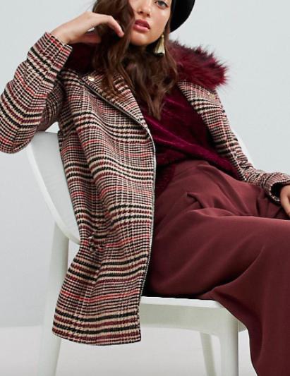 River Island Check Faux Fur Collar Coat