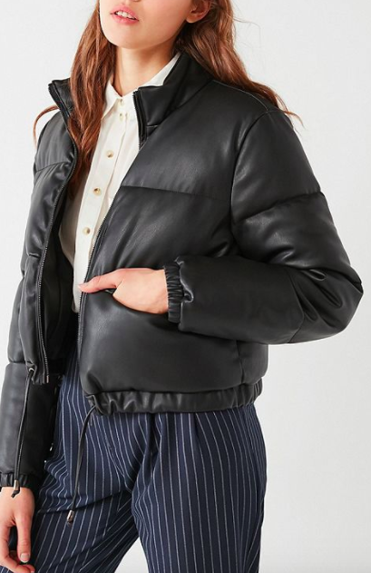 UO Faux Leather Cropped Puffer Jacket