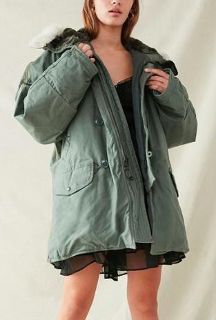 Vintage Faux-Fur Hooded Surplus Coat