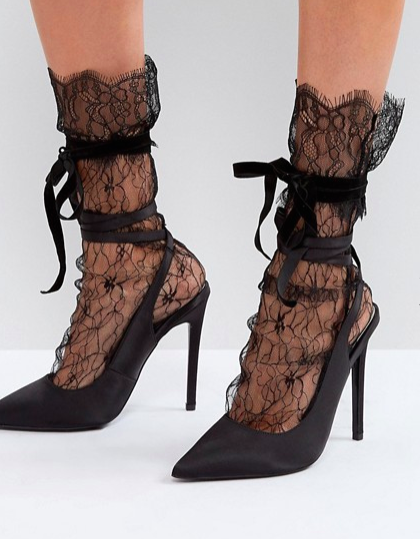 ASOS Lace Socks with Bow Strap