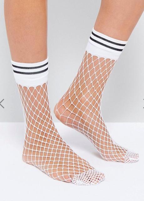 ASOS Stripe Welt Fishnet Socks In White