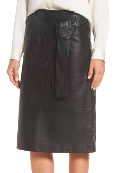 Belted Leather Skirt EMERSON ROSE