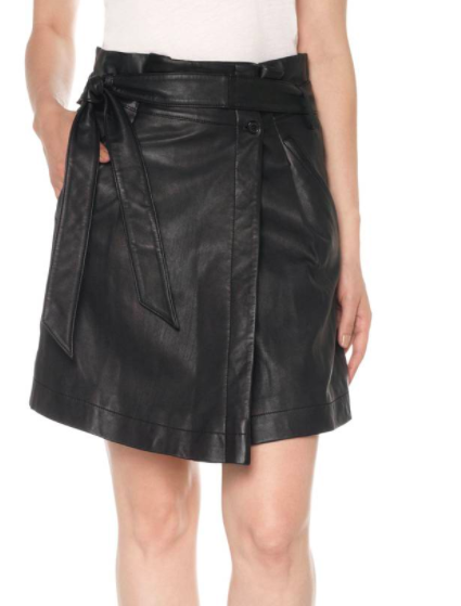 Tatum Paperbag Waist Leather Skirt JOE'S