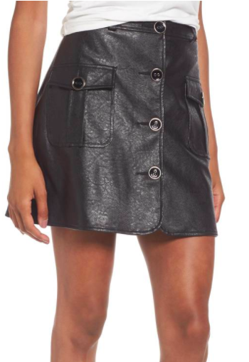 Envoy Faux Leather Moto Skirt MAJORELLE