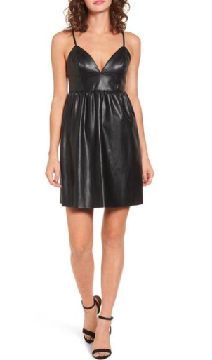 Faux Leather Skater Dress LEITH