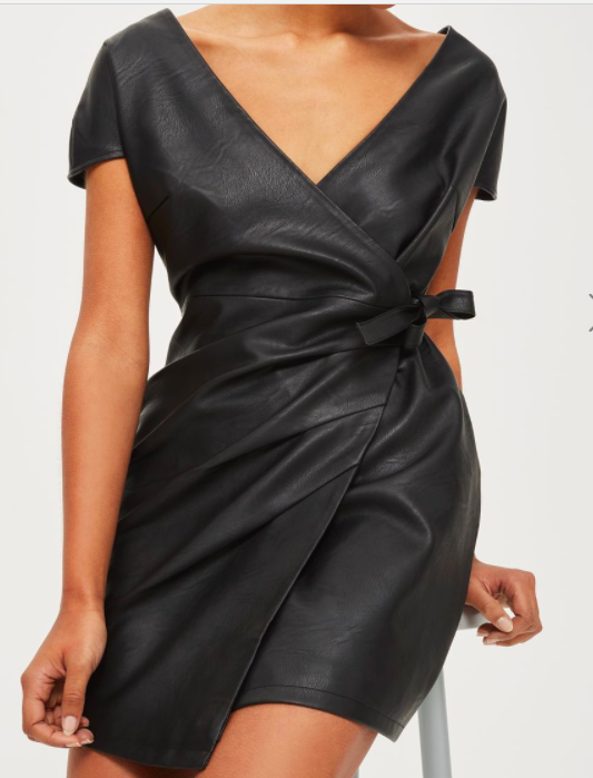 Topshop Faux Leather Wrap Mini Dress