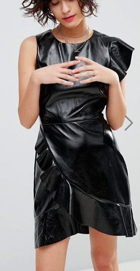 J.O.A Mini Dress With Statement Ruffle In High Shine Faux Leather