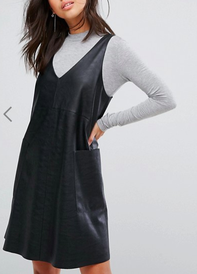 Boss Casual Leather V Neck With Jersey Turtleneck Dress