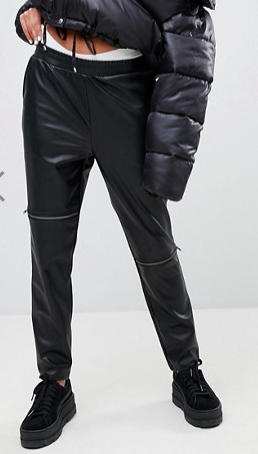 Noisy May Leather Look Zip Pants