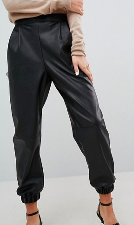 ASOS Low Rise Track Pant in Soft Leather Look