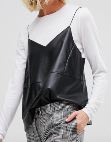 Pieces Jersey Top With Leather Look Cami