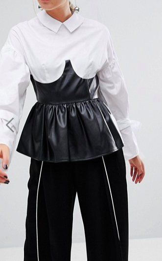 Lost Ink Shirt With Tie Sleeves And Faux Leather Corset Peplum