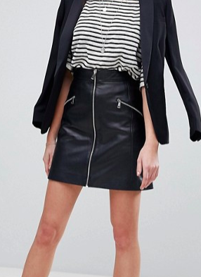 Lab Leather Skirt with Exposed Zip