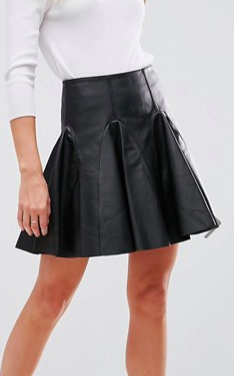ASOS Leather Mini Flippy Skirt
