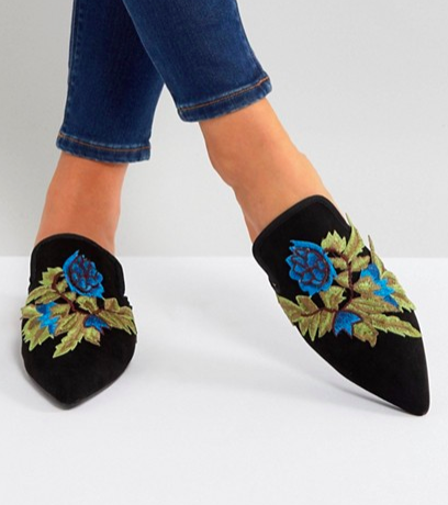 Glamorous Floral Embroidered Pointed Mules