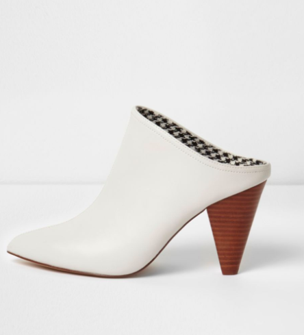 River Island White pointed toe cone heel mules