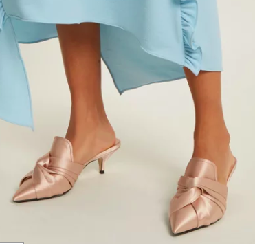 NO. 21  Twisted-satin point-toe mules