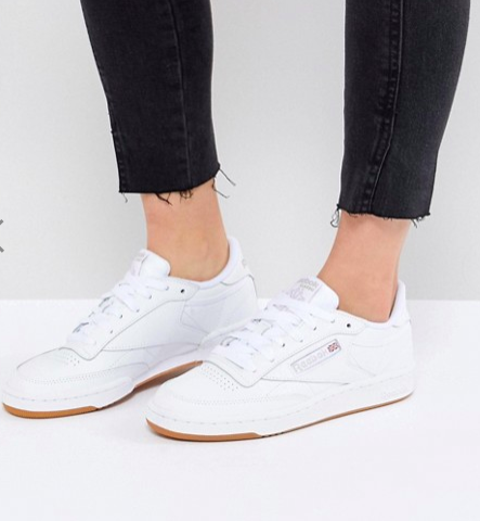 Reebok Classic Club C 85 Sneakers In White Leather With Gum Sole