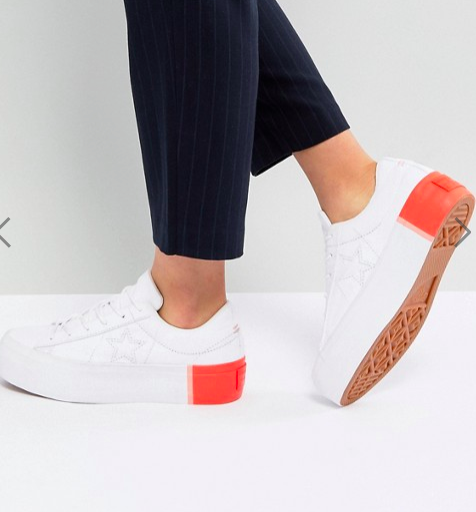 Converse One Star Platform Ox Sneakers With Color Block Heel