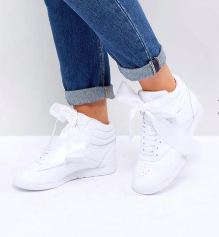 Reebok Classic Freestyle Hi Satin Bow Sneakers In White