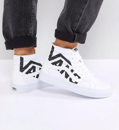 Vans Sk8-Hi Unisex Sneakers In White With Large Logo