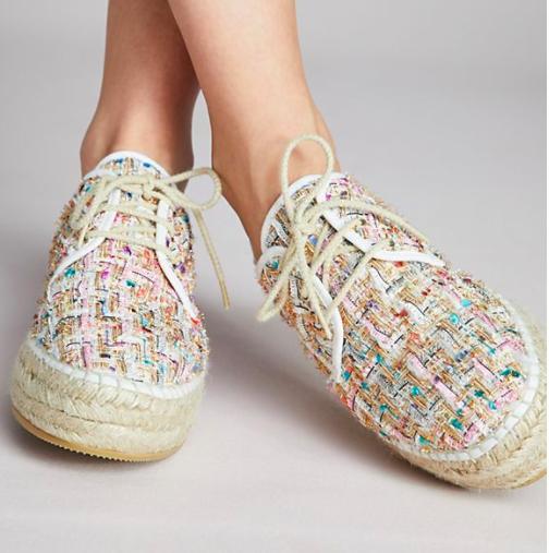Anthropologie Lace-Up Tweed Espadrille Sneakers