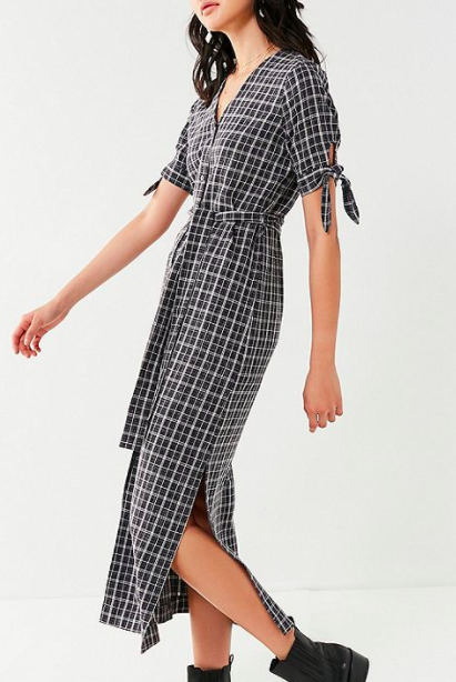 Moon River Plaid Midi Dress