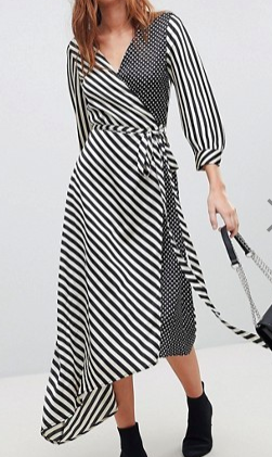 Stradivarius Stripe And Polka Dot Wrap Dress