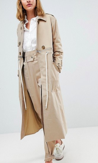 ASOS WHITE Trench Coat Co-ord With Rope Detail
