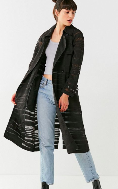UO Striped Mesh Trench Coat