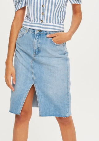 MOTO Denim Midi Skirt