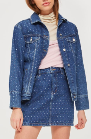 Topshop Mini Crystal Denim Jacket