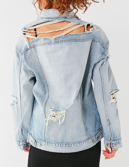 Levi's Oversized Destroyed Denim Trucker Jacket