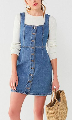 UO Button-Down Denim Mini Dress