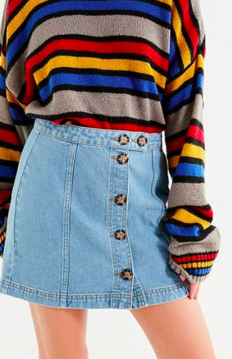 BDG Horn-Button Denim Mini Skirt