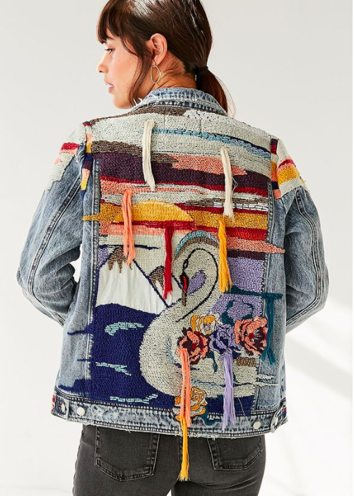 BLANKNYC Liquid Summer Embroidered Denim Trucker Jacket