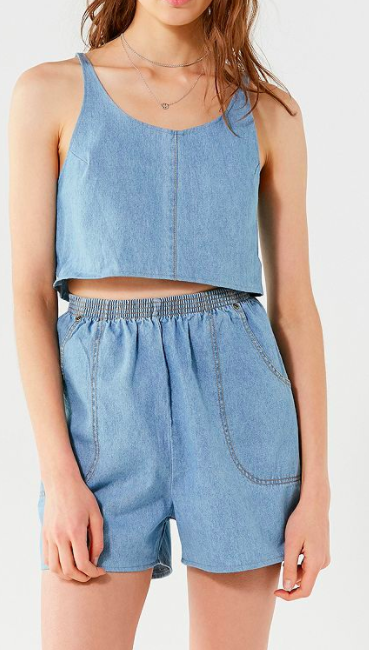 Urban Renewal Remade Denim Short Two-Piece Set