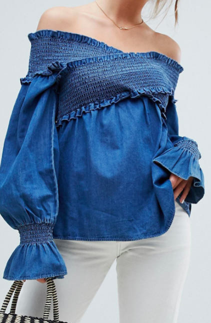 ASOS DESIGN denim shirred off shoulder smock top